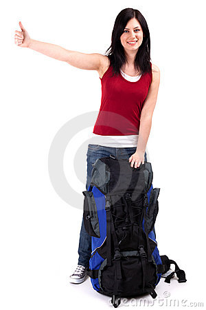 Female tourist with backpack stopping car