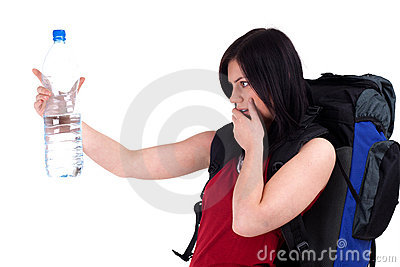 Female tourist with bottle of water