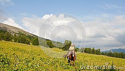 Female tourist on horseback