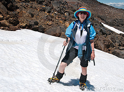 Female tourist on snowy slope
