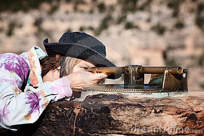 Female Tourist Viewing the Grand Canyon