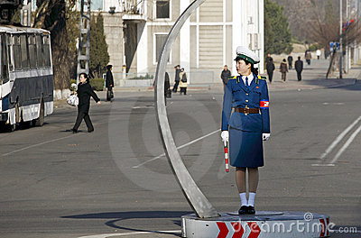 Female traffic police.DPRK Editorial Stock Image
