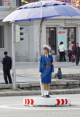 Female traffic police.DPRK Editorial Photo