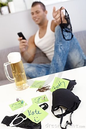 Female underwear, young guy and beer