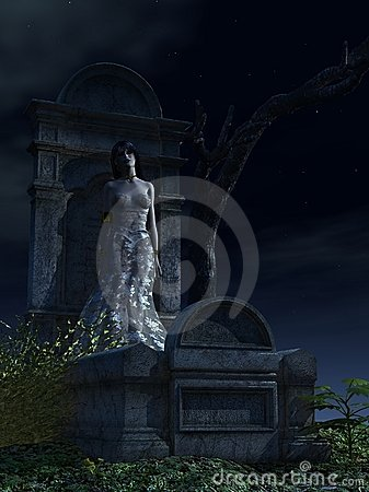 Free Female Vampire Leaning Against Tombstone Stock Photography - 12905792