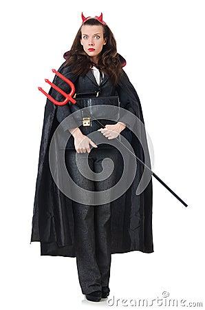 Female wearing devil costume