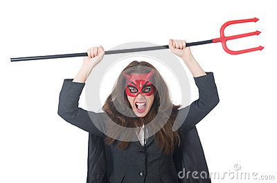 Female wearing devil costume
