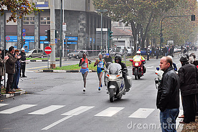 The female winner of the Turin Marathon 2010 Editorial Photo