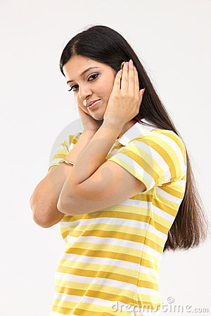 Free Female With Closed Ears Royalty Free Stock Images - 8388129