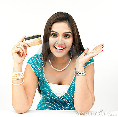 Free Female With Her Credit Card Stock Image - 8090981