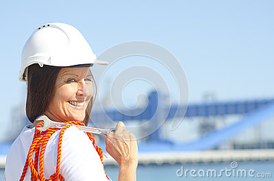 Female worker industrial background