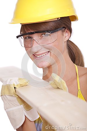 Female worker with wood