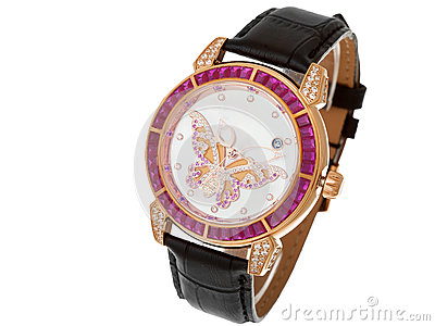 Female wrist watch dial with butterfly from diamond. Stock Photo