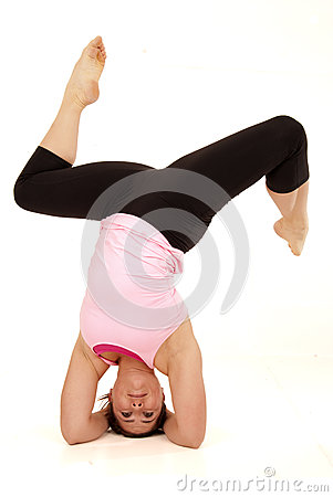 Female yoga model posing in the open angle pose he