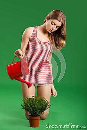 Female young gardener