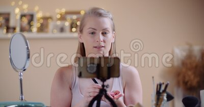 Female Youtuber Makeup Artist Running online Makeup Course. Female Makeup Artist Learning Makeup online stock video footage