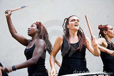 Females drummers Editorial Stock Photo