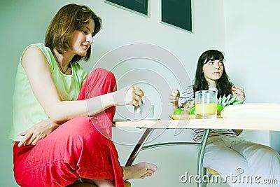 Females having breakfast