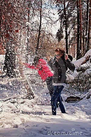 Females playing in snow