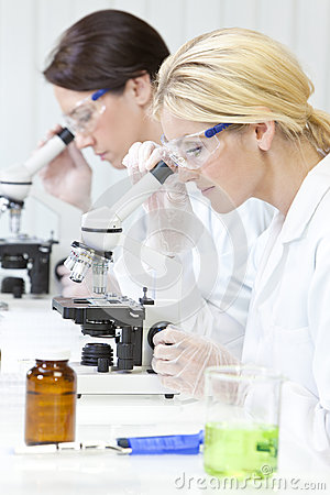 Females, Scientific on Microscopes in Laboratory