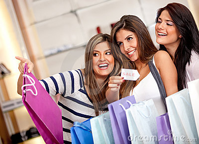Females shopping on sale