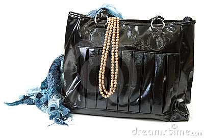 Feminine bag with scarf and necklace