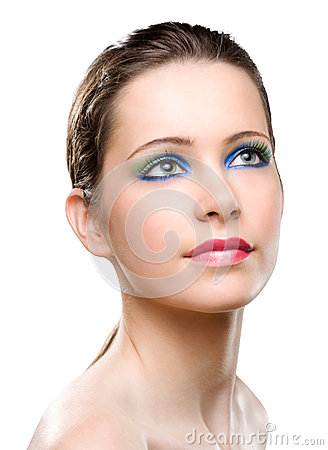 Feminine beauty colorful  makeup.