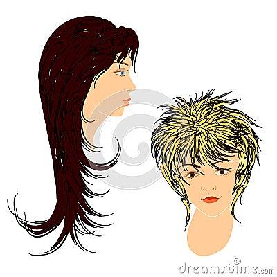 Feminine hairdos.