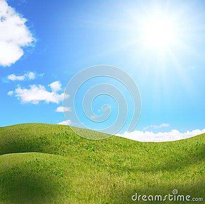 Feminine hill under sun