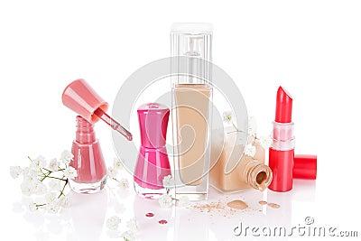 Feminine Make up and Cosmetics still life.