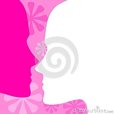 Feminine Pink Face Profiles Background
