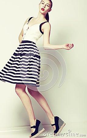 Feminine 60s Fashion Style Pretty Stylish Woman In Retro Short Dress Royalty Free Stock Photos