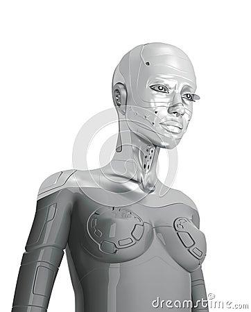 Feminine silver cyborg