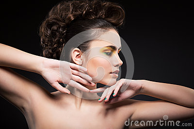 Femininity. Muse. Profile of Young Woman with Clean Healthy Skin