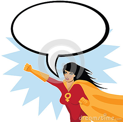 Free Feminist Superwoman With Speech Bubble Royalty Free Stock Photos - 45490098