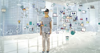 Femme à l'aide du casque de réalité virtuelle avec les icônes digitalement produites 4k d'affaires clips vidéos