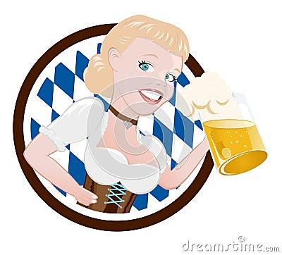 Femme allemand avec de la bière
