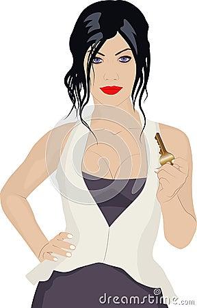 Femme avec la clé