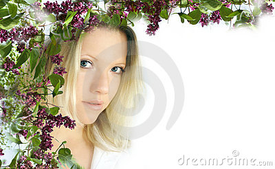 Femme avec la fleur