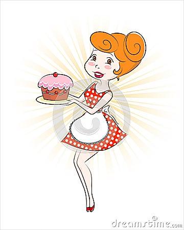 Femme avec le gâteau