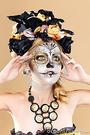 femme avec le maquillage de cr ne de sucre photo stock image 64123584. Black Bedroom Furniture Sets. Home Design Ideas