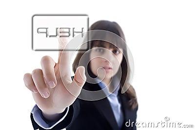 Femme d affaires appuyant sur le bouton d aide