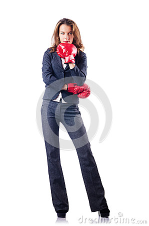 Femme d affaires de femme avec des gants de boxe