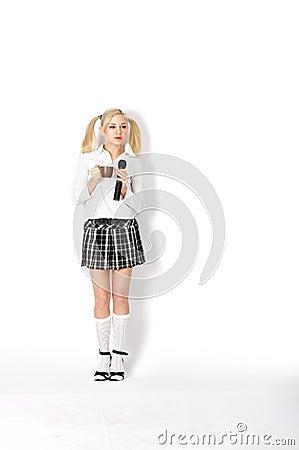 Images libres de droits: Femme dans un uniforme scolaire