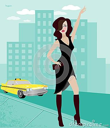 Femme de ville grêlant un taxi