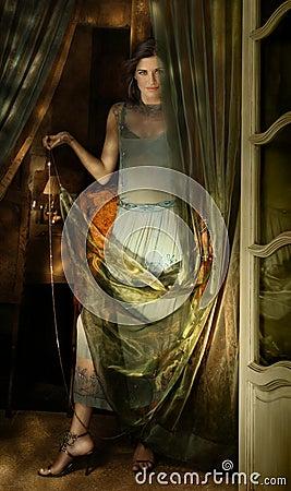 Femme et tissu