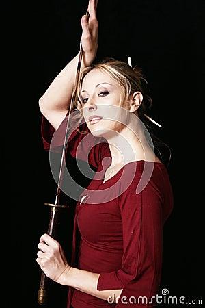 Femme fatale with samurai sword