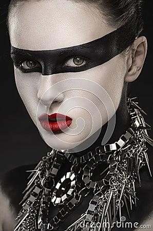 femme gothique avec le maquillage noir cr atif photo stock image 44221313. Black Bedroom Furniture Sets. Home Design Ideas