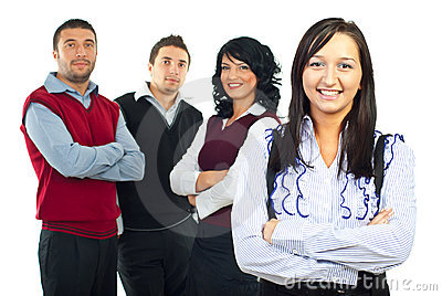 Femme heureux d affaires et son équipe
