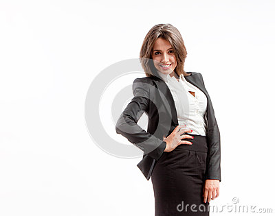 Femme joyeuse d affaires